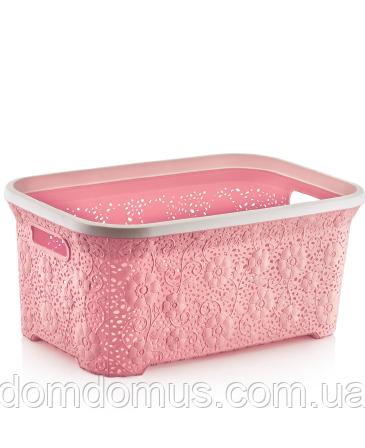 """Кошик ажурня для білизни """"Мотив"""" 35 л Dunya Plastik, Туреччина, рожева"""