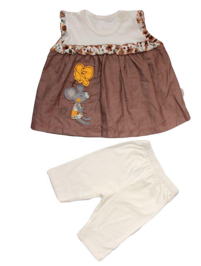 Комплект летний на девочку Мышка (треcсы, платье) 68 см Турция