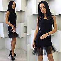 Черное платье с фатином