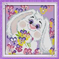 """Вышивка крестиком """"Белый кролик 2"""" 39*39 см"""
