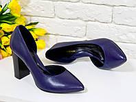 Туфли фиолетовые из натуральной кожи  на устойчивом каблуке с острым носком