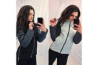 Женская куртка Комби 2 цвет ментол и черный размеры 42-46