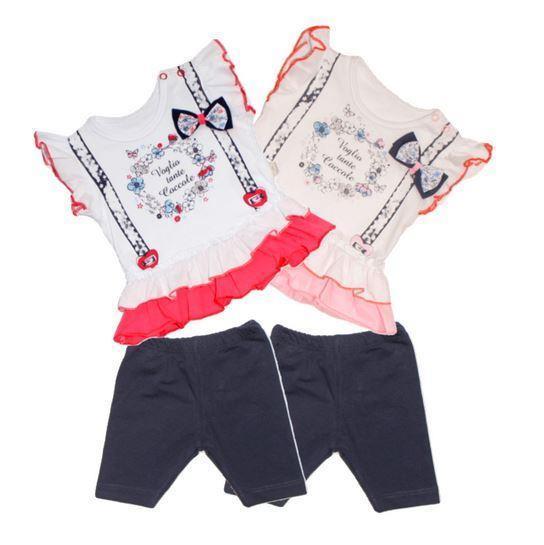 Комплект летний на девочку Веночек  (шорты-трессы, футболка)  62, 68, 74 см  Турция