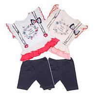 Комплект летний на девочку Веночек  (шорты-трессы, футболка)  62, 68, 74 см  Турция, фото 1