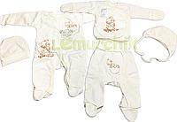 Комплект для новорожденного (человечек+распашонка+ползунки+2 шапочки) Ангелочек 56р.