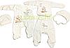 Комплект для новорожденного (человечек+распашонка+ползунки+2 шапочки) Ангелочек 62р.