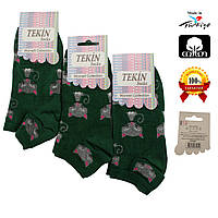 Носки женские хлопок короткие зеленые с рисунком Ж-100009