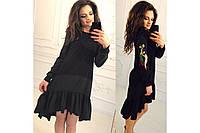 Маленькое черное платье Перья. размеры S M L