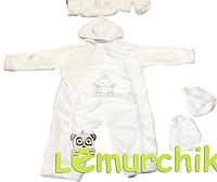 Комплект для новорожденного (человечек+пинетки) белый махра, 68р.