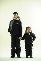 Утепленный зимний подростковый лыжный костюм на синтепоне штаны и куртка на овчине, коллекция семья