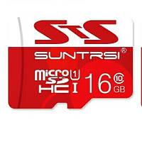 Карта памяти Suntrsi MicroSDHC 16GB Class 10 + адаптер в подарок
