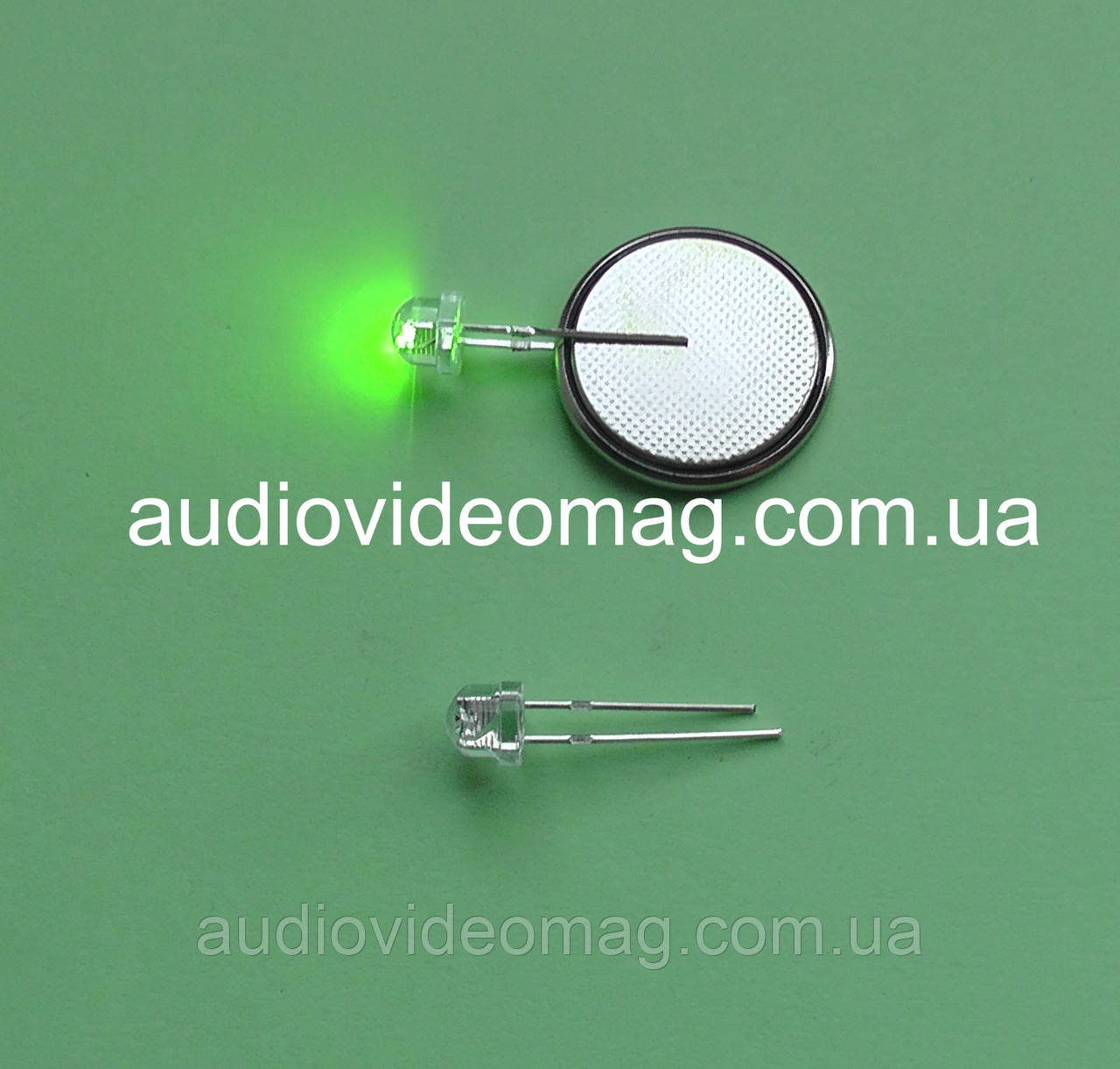 Светодиод 3V 4,8 мм, цвет - зелёный