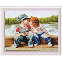 """Вышивка крестиком """"Детский поцелуй""""  61*47 см."""