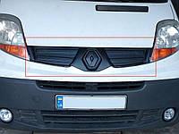 Зимняя накладка ВЕРХНЯЯ - на решётку радиатора на Renault Trafic II 2006->2014 (екоглянец) - TZ12eco