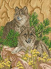 Схема на ткани для вышивания бисером Волки (маленькие)