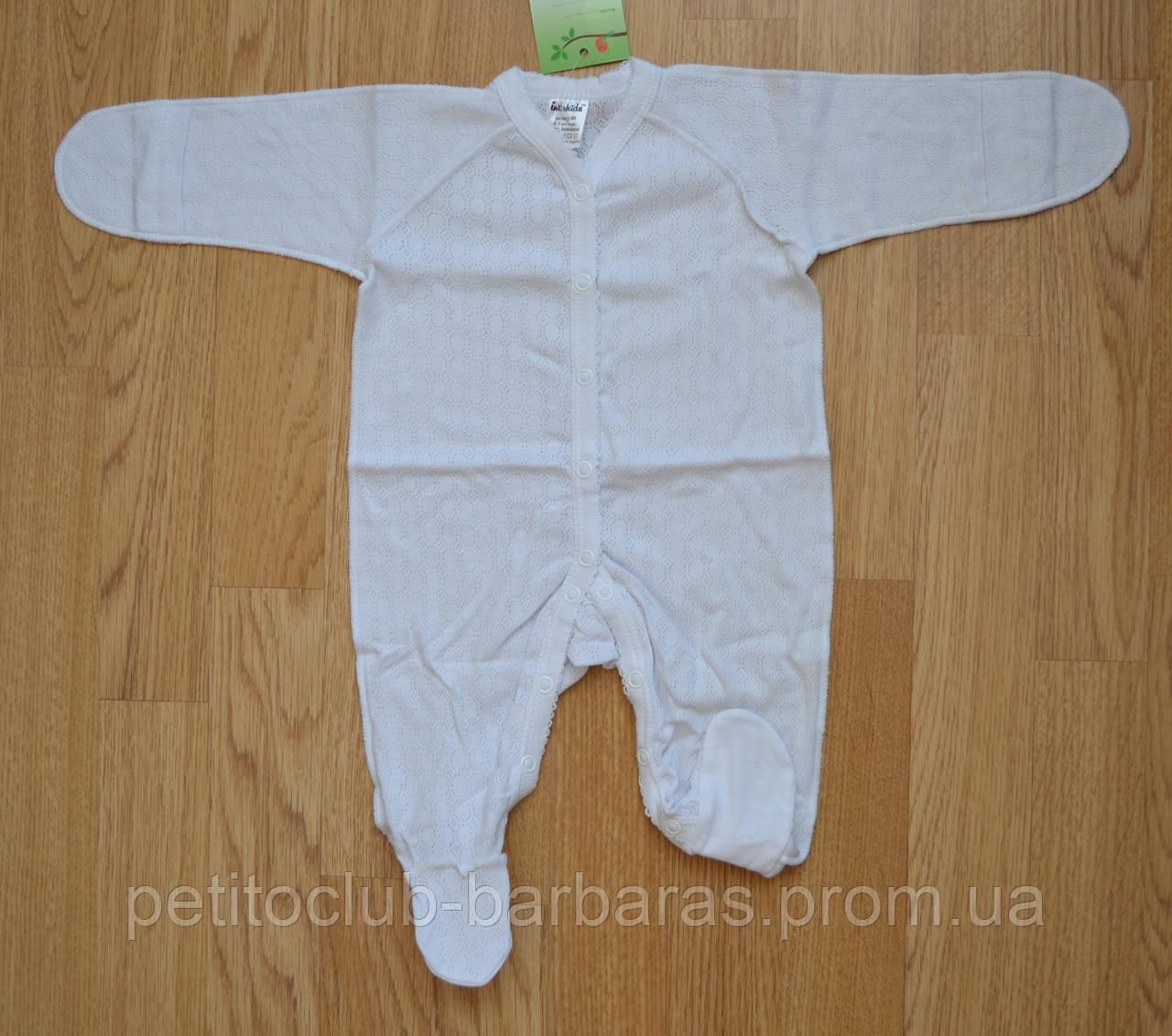 Летний человечек для девочки АЖУР с наружными швами белый