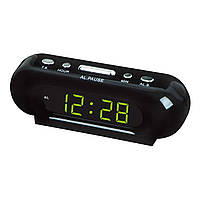 Настольные часы с будильником vst 716-4, светодиодная салатовая подсветка цифр, отсрочка сигнала, 220в
