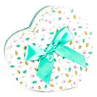 Подарочная коробка в форме сердца с мятным бантиком 15 x 13 x 7,2 см