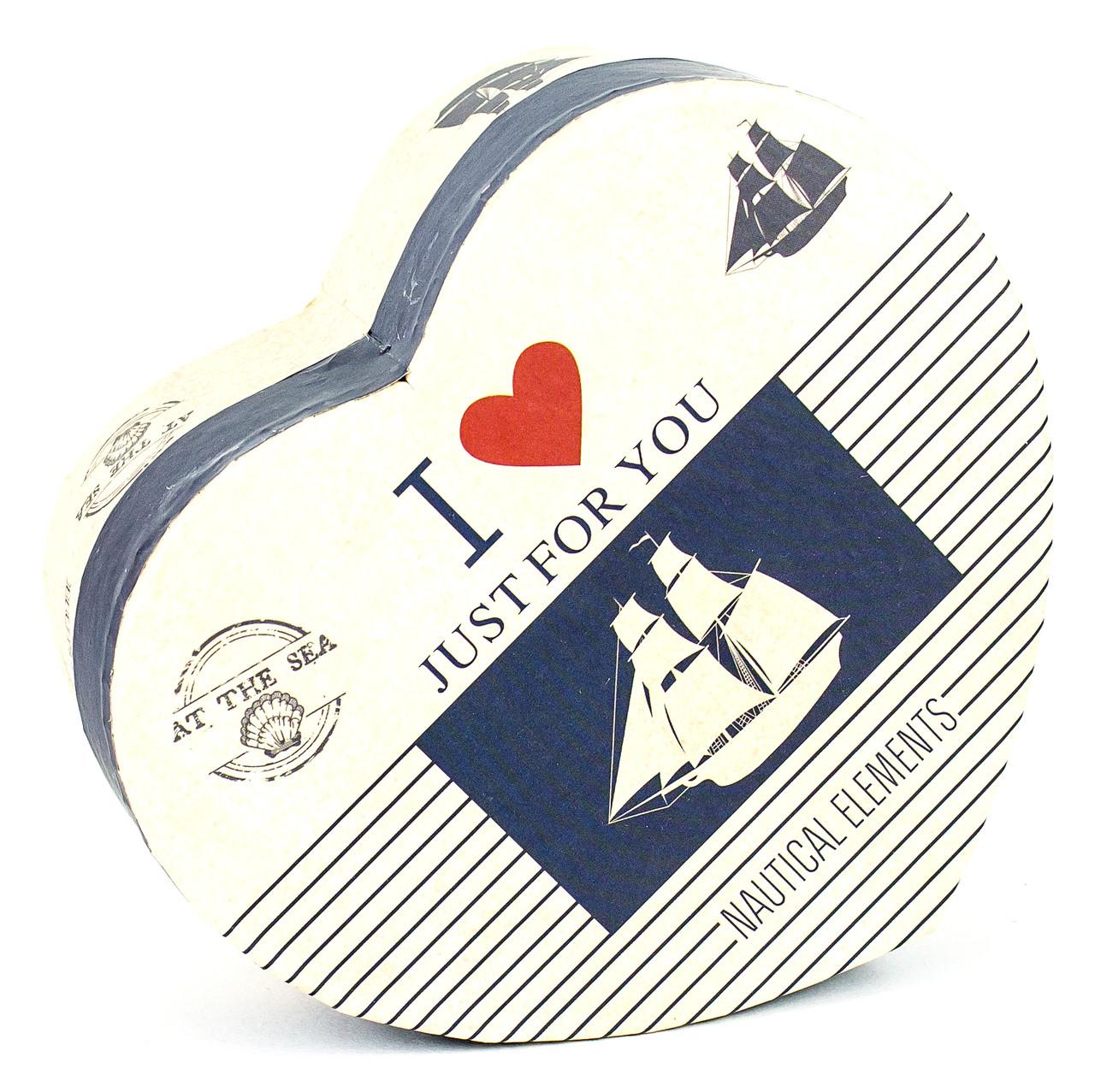 Подарочная коробка в форме сердца Парусник 15 x 13 x 7.2 см