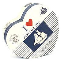 Подарочная коробка в форме сердца Парусник 11.5 x 9.8 x 5.2 см