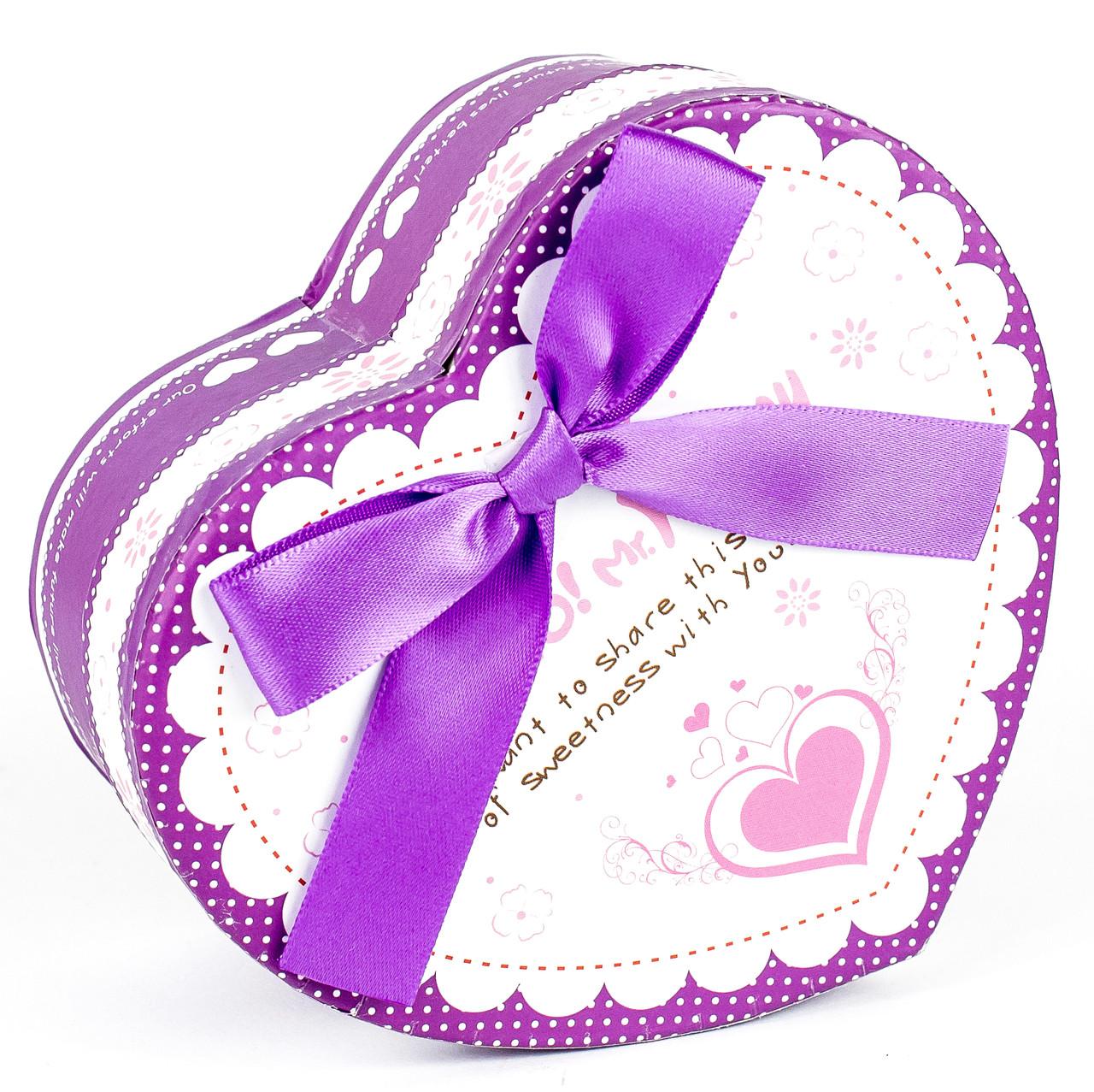 Подарочная коробочка в форме сердца фиолетовая 15 x 13 x 7.2 см