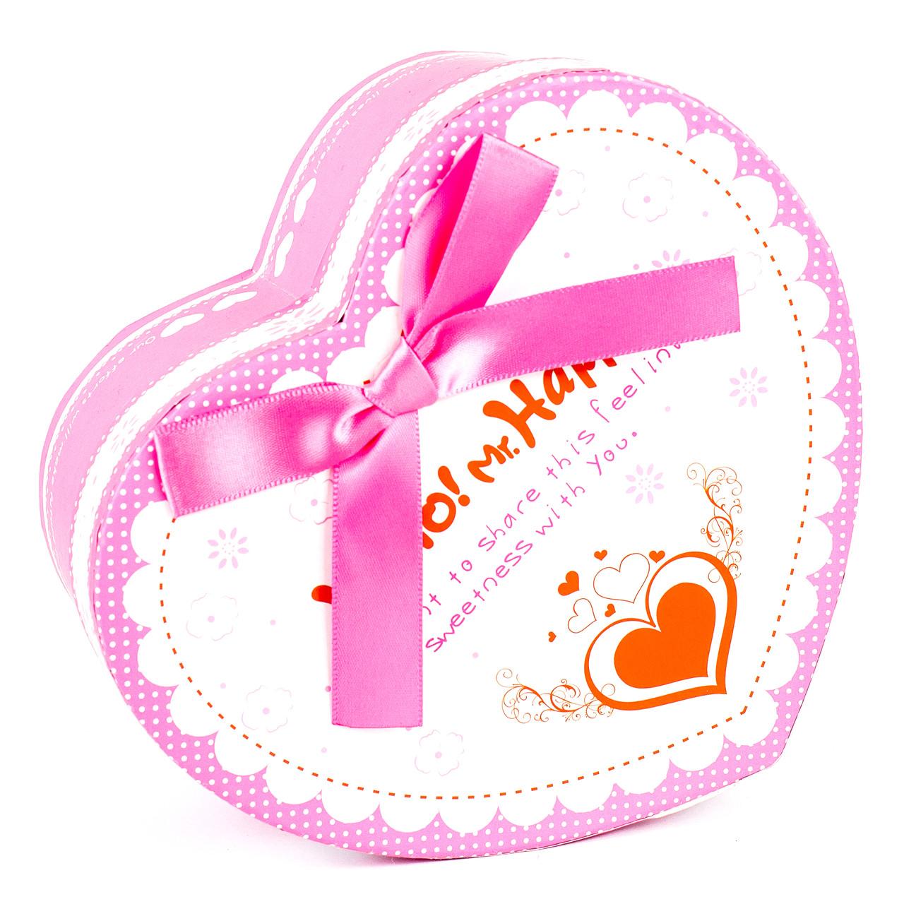 Подарочная коробочка в форме сердца розовая 15 x 13 x 7.2 см