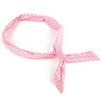Повязка на голову Солоха розовая в белый горошек, фото 1