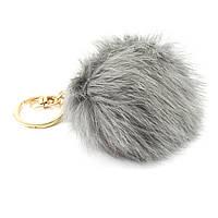 Брелок Пушистик из натурального меха кролика серый