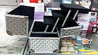 Чемодан металлический раскладной, маникюрная сумка для мастера, серебро