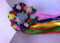 Український вінок з атласними квітами