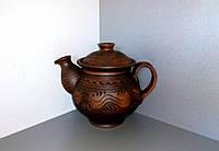 """Чайник глиняний орнамент""""хвилька""""1л"""