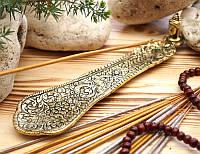 Подставка для ароматических палочек, желтая - Голова Будды #2