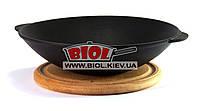 Чугунная порционная сковорода WOK (ВОК) 1л 21х5,5см на деревянной подставке 18см (бук) ЭКОЛИТ (Украина)
