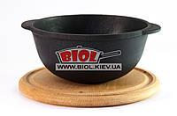 Кастрюля чугунная 500мл порционная для подачи без крышки 14*7см на деревянной подставке 18см (бук) ЭКОЛИТ