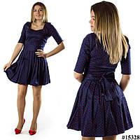 Темно-синее платье 15328 в горох