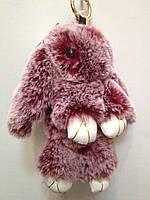 Меховой брелок Кролик 18 см.  фиолетового цвета