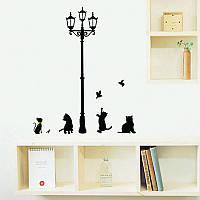"""Наклейка на стену """"Фонарь и кошки"""" 70 см"""