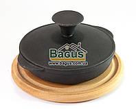 Сковорода чугунная порционная 140х30мм с чугунной крышкой и деревянной подставкой 18см (бук) Эколит
