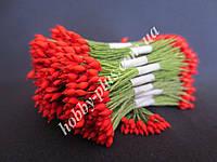 Тайские тычинки, КРАСНЫЕ, каплевидные на зеленой ните, 23-25 нитей, 50 головок