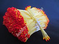Тайские тычинки, КРАСНО-ЖЕЛТЫЕ, мелкие на светло-желтой нити, 23-25 нитей, 50 головок
