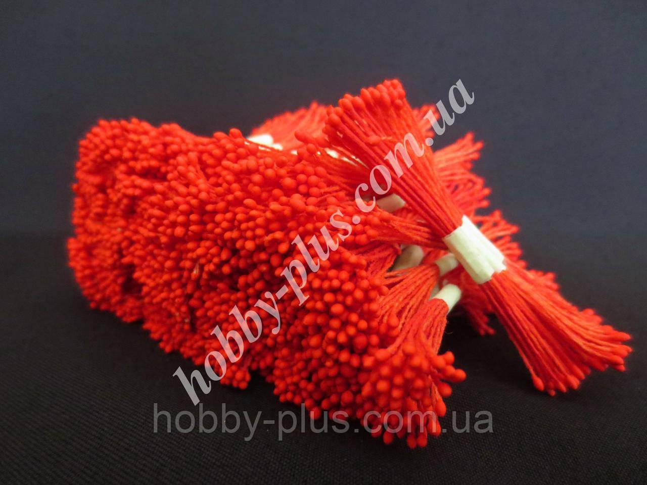 Тайские тычинки, КРАСНЫЕ, мелкие на красной нити, 23-25 нитей, 50 головок