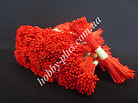 Тайские тычинки, КРАСНЫЕ, мелкие на красной нити, 23-25 нитей, 50 головок, фото 1