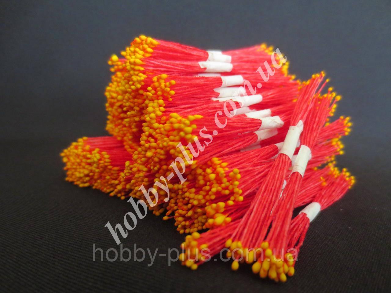 Тайские тычинки, ЖЕЛТЫЕ, мелкие на красной нити, 23-25 нитей, 50 головок