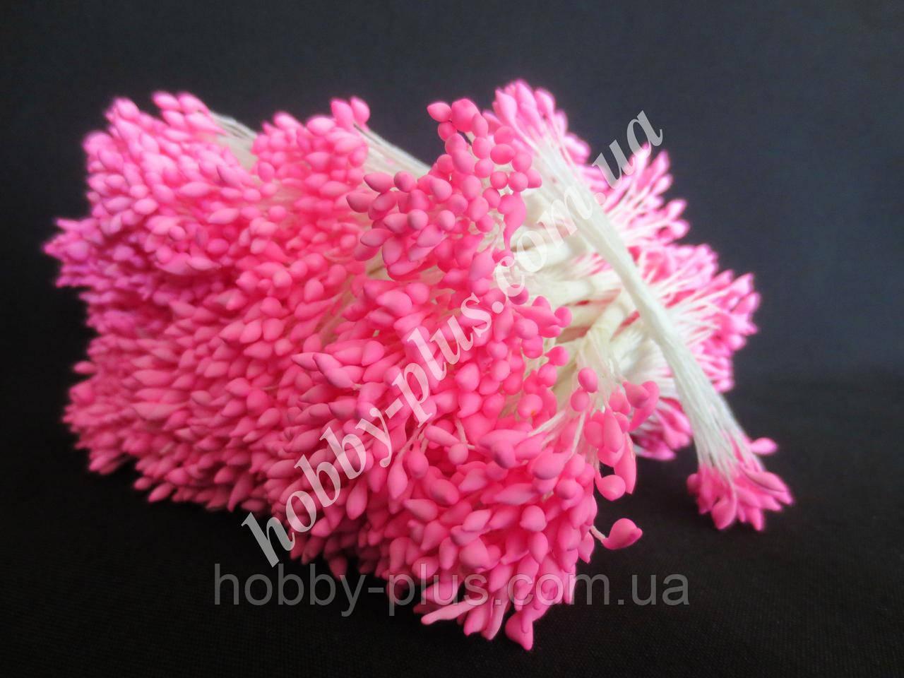 Тайские тычинки, РОЗОВЫЕ, каплевидные на белой нити, 23-25 нитей, 50 головок