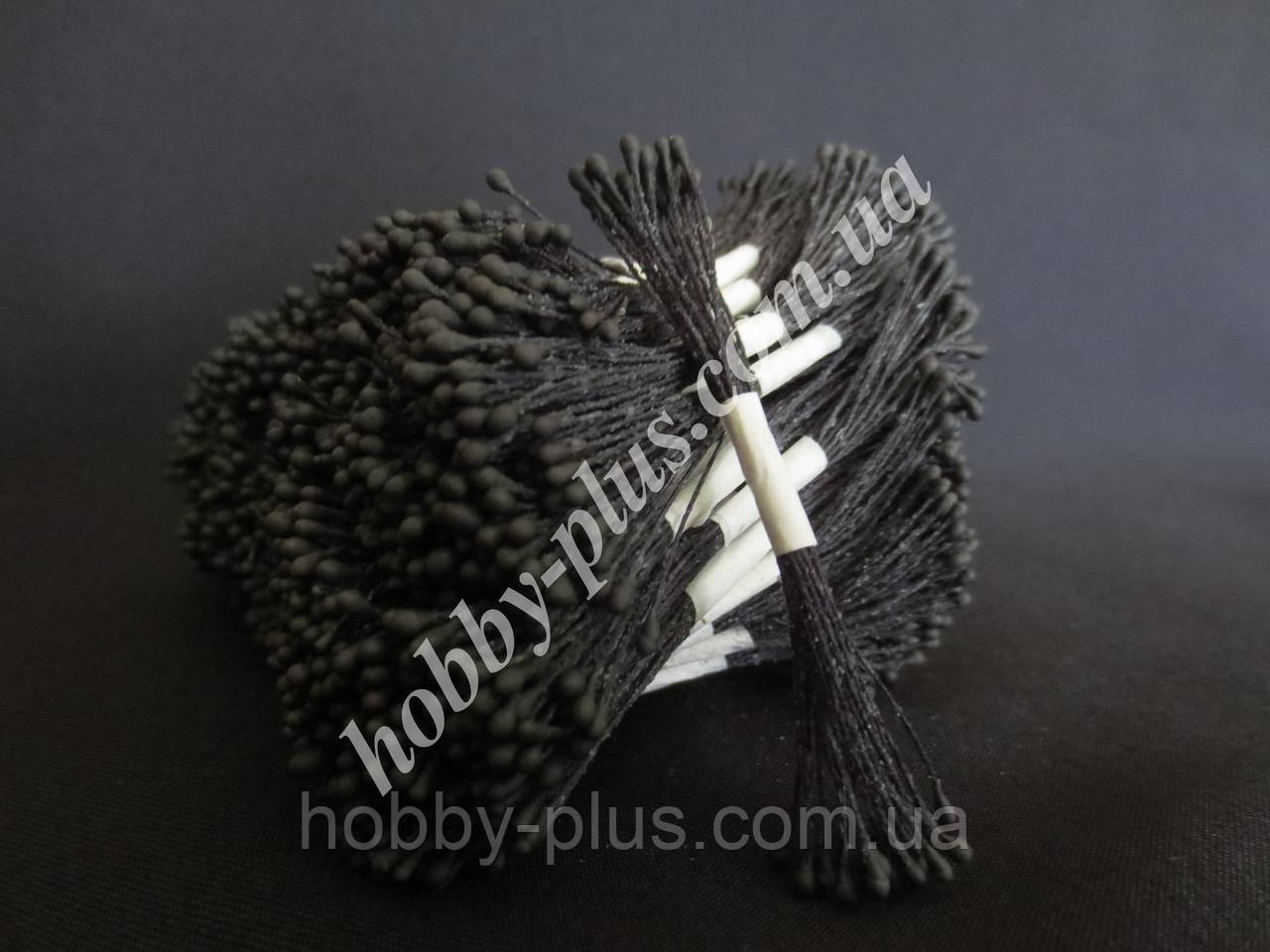 Тайские тычинки, ЧЕРНЫЕ, мелкие круглые на черной нити, 23-25 нитей, 50 головок