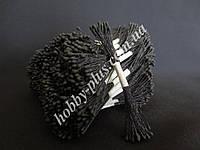 Тайские тычинки, ЧЕРНЫЕ, мелкие круглые на черной нити, 23-25 нитей, 50 головок, фото 1