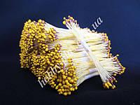 Тайские тычинки, ЖЕЛТО-КОРИЧНЕВЫЕ, мелкие на светло-желтой нити, 23-25 нитей, 50 головок