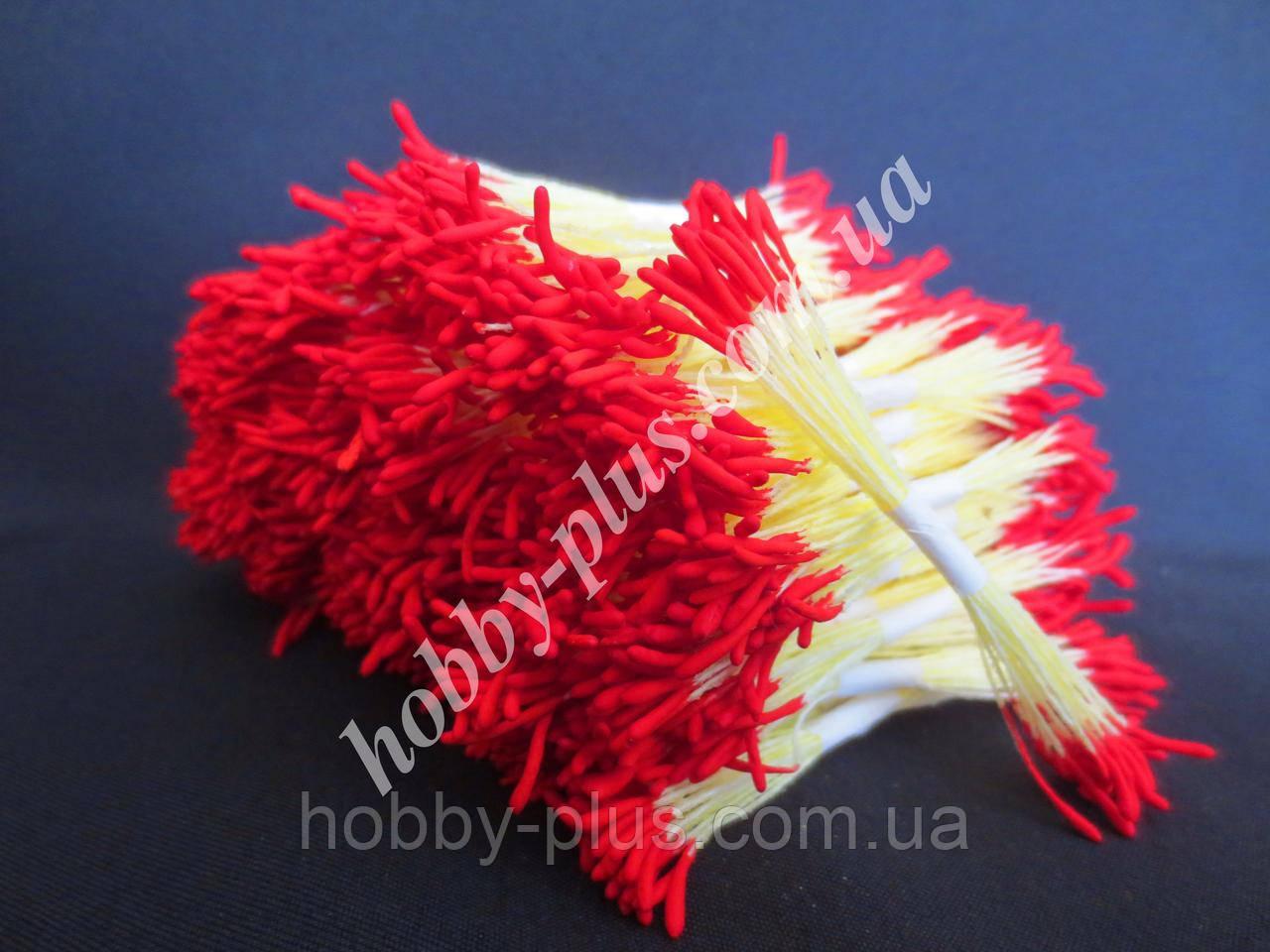 Тайские тычинки, КРАСНЫЕ, удлиненные на светло-желтой нити, 23-25 нитей, 50 головок