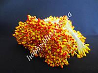 Тайские тычинки, КРАСНО-ЖЕЛТЫЕ, каплевидные на светло-желтой нити,  23-25 нитей, 50 головок