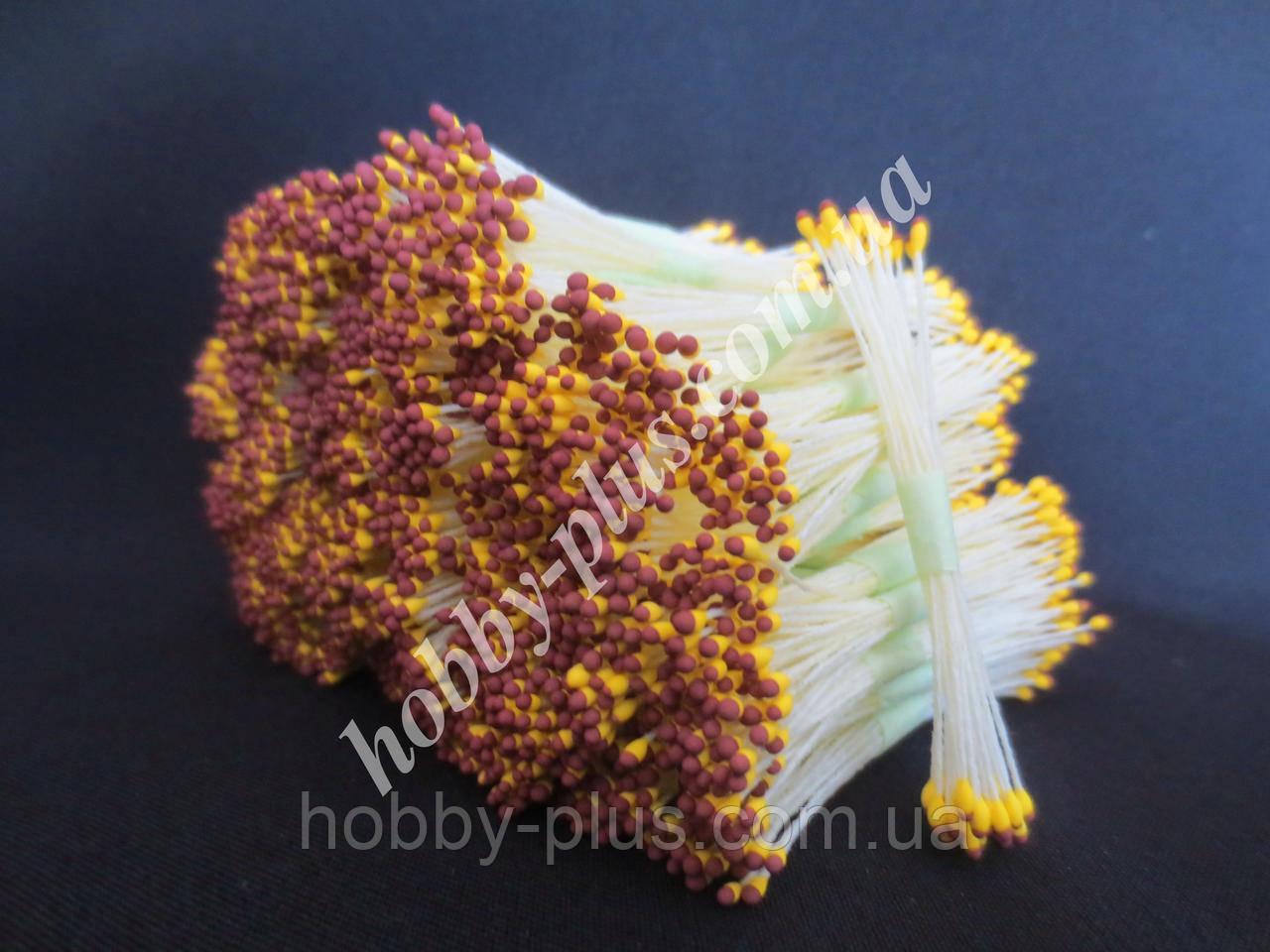 Тайские тычинки, КОРИЧНЕВО-ЖЕЛТЫЕ, мелкие на светло-желтой нити, 23-25 нитей, 50 головок